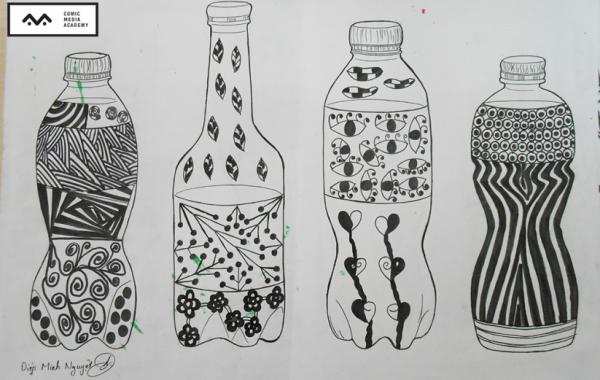 Buổi học vẽ sáng tạo trên chai nước