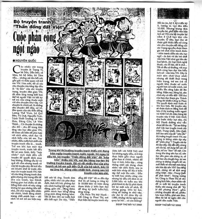 Bài báo về Thần Đồng Đất Việt