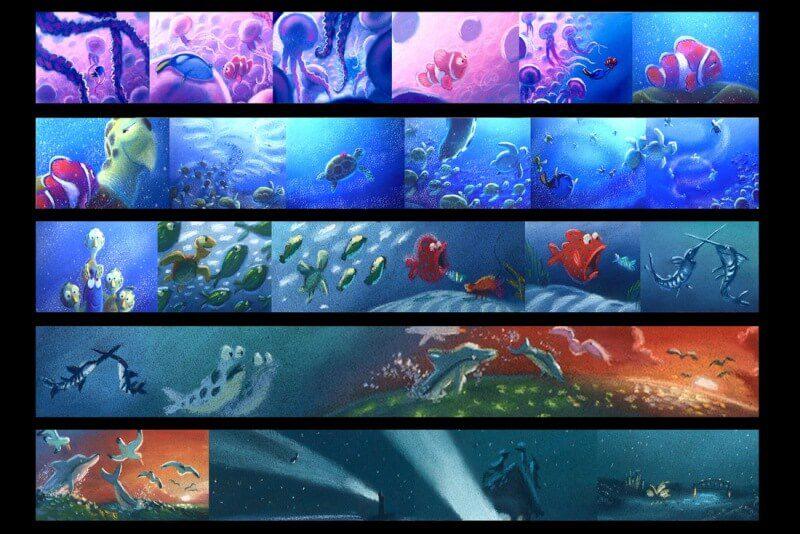 bản màu của storyboard phim hoạt hình fiding nemo 1