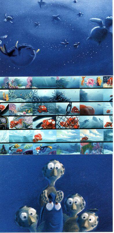 bản màu của storyboard phim hoạt hình fiding nemo 2