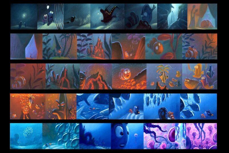 bản màu của storyboard phim hoạt hình fiding nemo