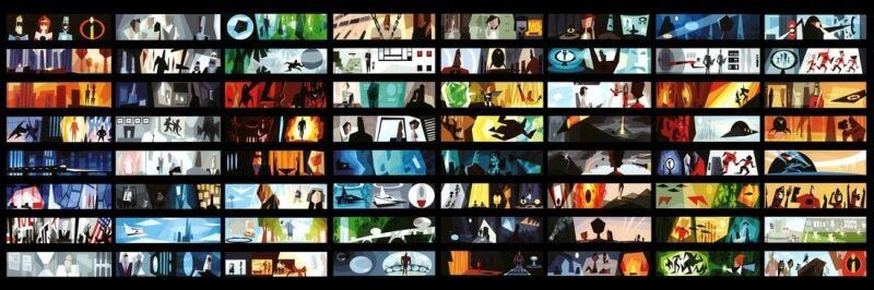 bản màu của storyboard phim hoạt hình incredibles 3