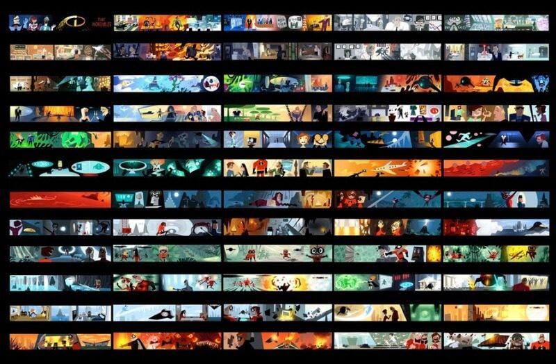 bản màu của storyboard phim hoạt hình incredibles