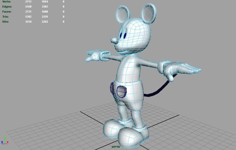 hậu trường hoạt hình họa sĩ dựng hình 3D Mickey Mouse