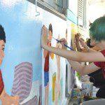 vẽ tranh trên tường học viên Viện Truyện tranh và Hoạt hình 2