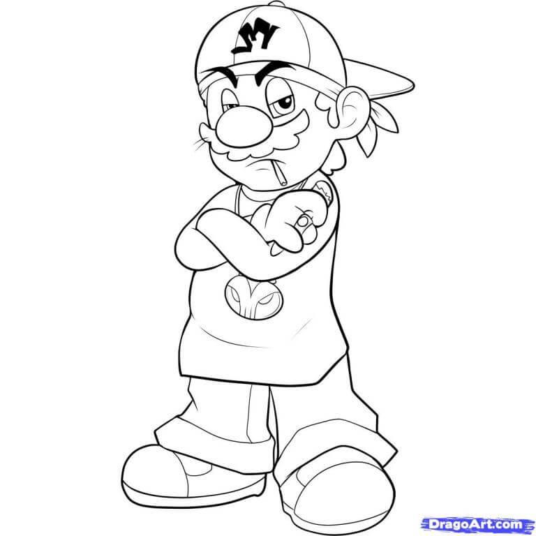 Tô màu Mario đầu gấu