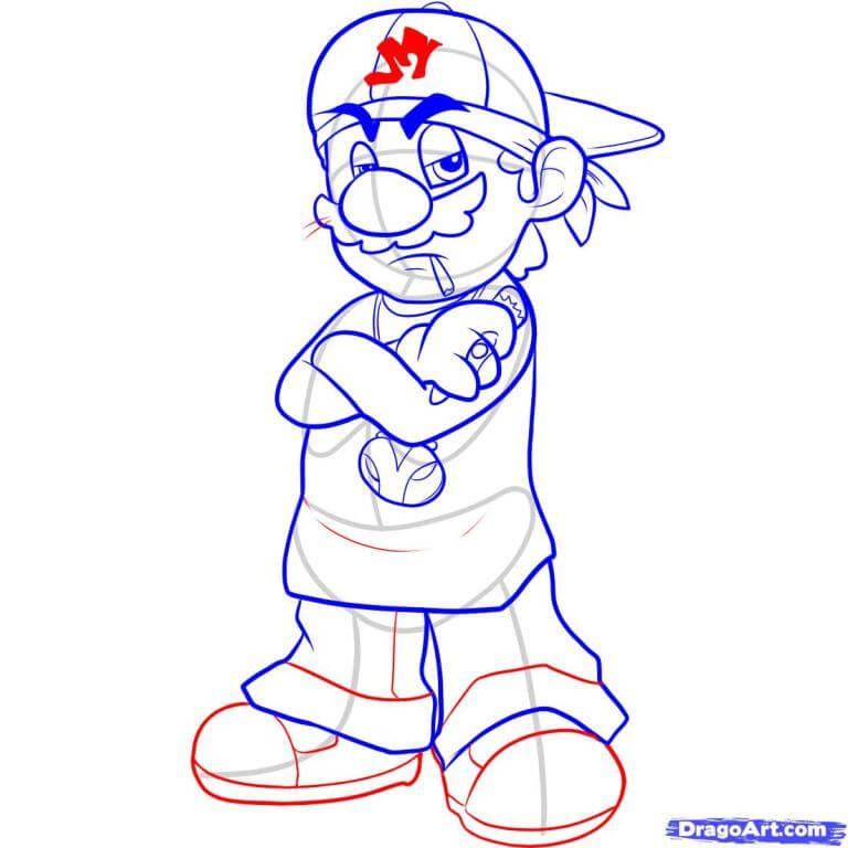 Vẽ Mario bước cuối