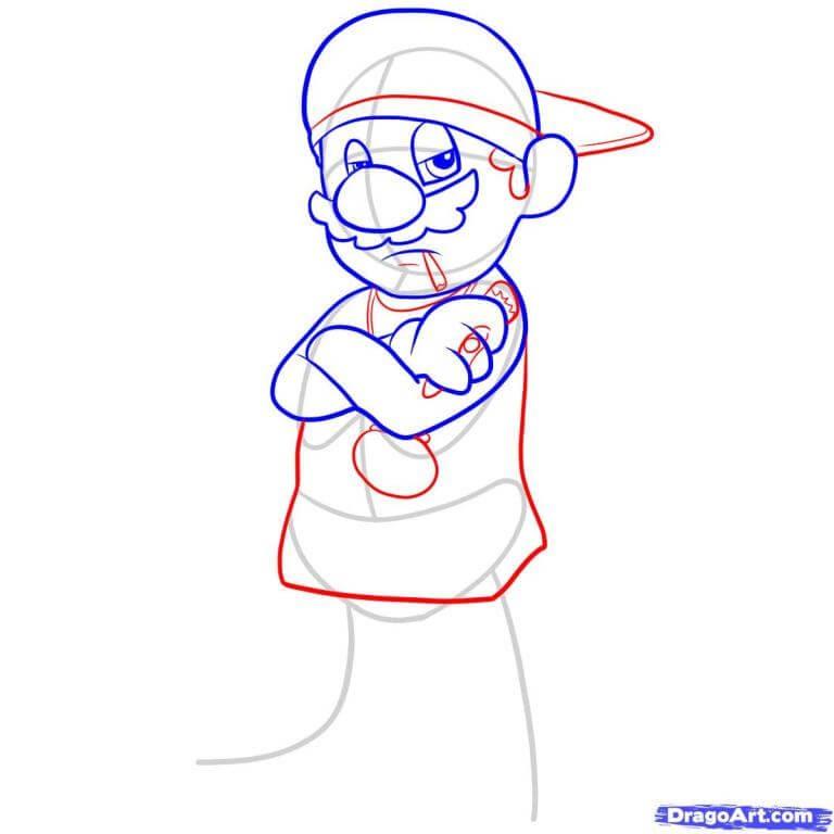 Vẽ Mario phần tóc