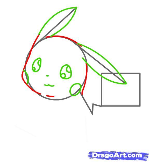 Vẽ tai và mắt Pikachu