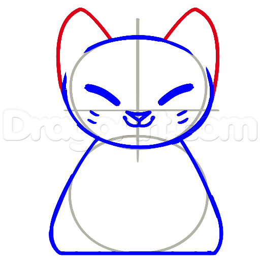 11 bước vẽ mèo may mắn siêu đáng yêu 4
