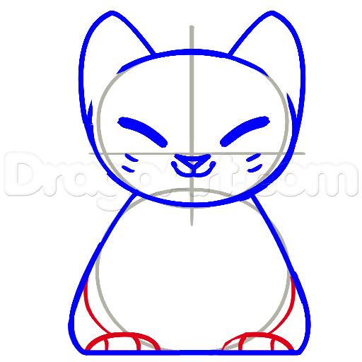 11 bước vẽ mèo may mắn siêu đáng yêu 5