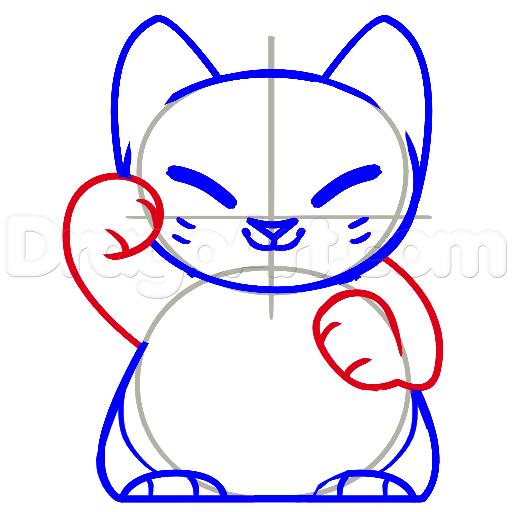 11 bước vẽ mèo may mắn siêu đáng yêu 6