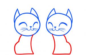 Cách vẽ đôi mèo đáng yêu dịp Valentine 4