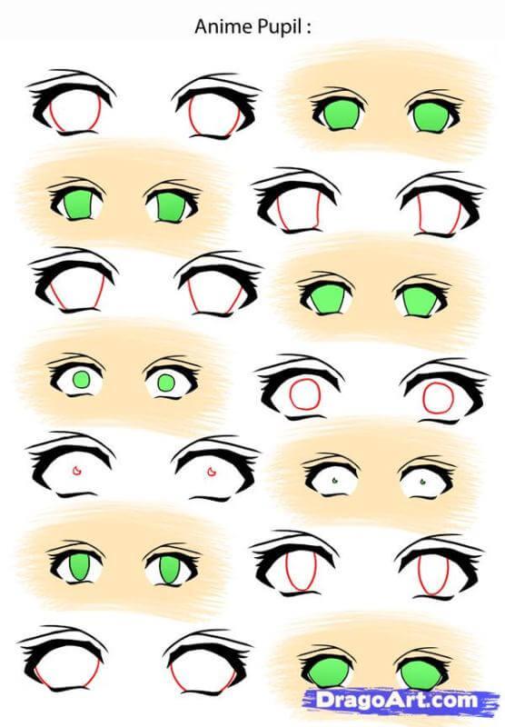 Vẽ con ngươi đôi mắt anime