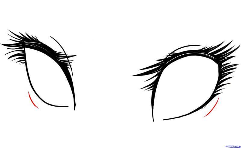 Vẽ đường dưới mắt anime