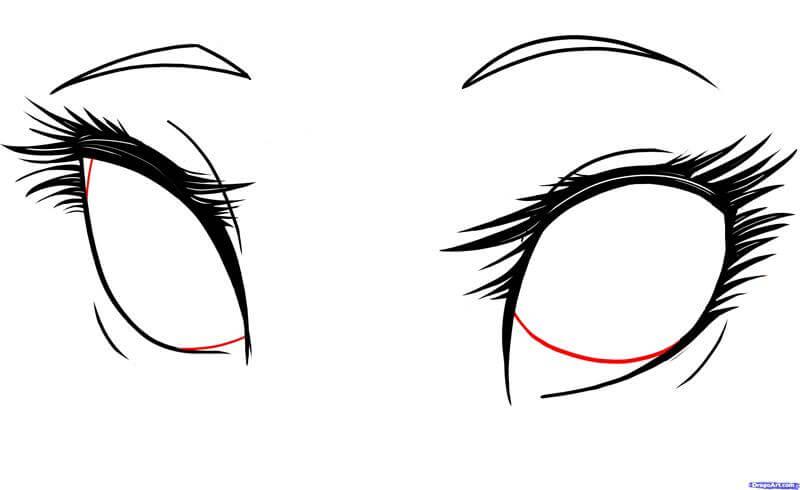 Vẽ khuôn con ngươi đôi mắt anime