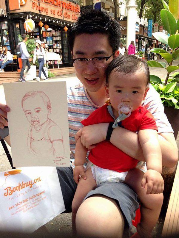 Vẽ tranh tại đường sách Nguyễn Văn Bình