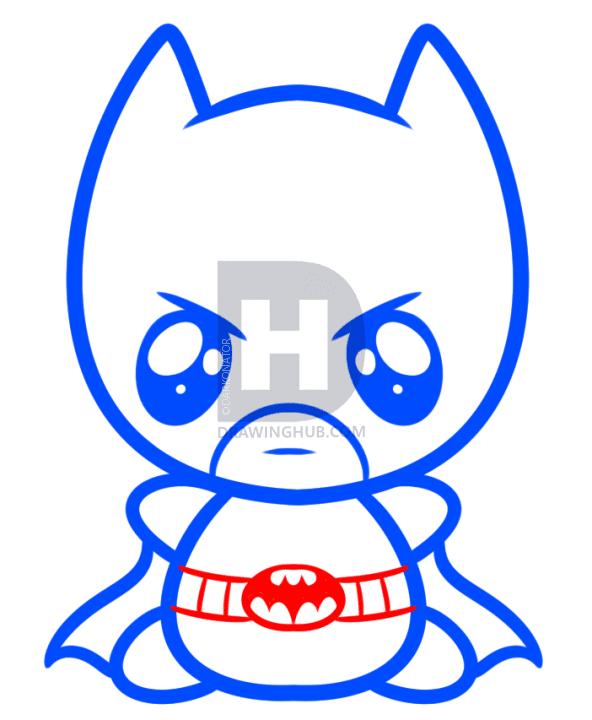 5 bước dễ dàng vẽ Batman theo phong cách Chibi 4