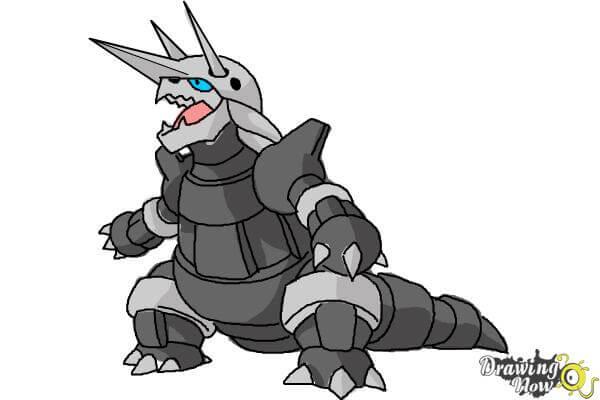 9 bước vẽ Pokemon Aggron siêu ngầu 9