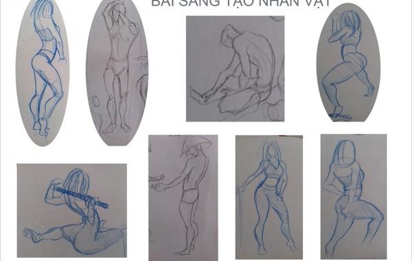 Bài thi Gesture Drawing – Nguyễn Thị Hoài Thương
