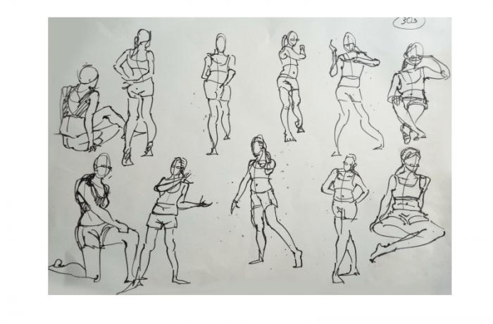 Bài thi Gesture (Figure) Drawing – Nguyễn Khương Thảo